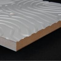 3D Wand 076 aus gefrästem MDF Holz, weiß grundiert