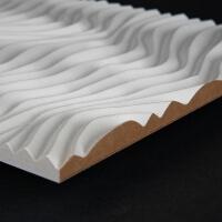 3D Wand 077 aus gefrästem MDF Holz, weiß grundiert