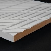3D Wand 078 aus gefrästem MDF Holz, weiß grundiert