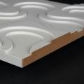 3D Wand 080 aus gefrästem MDF Holz, weiß grundiert