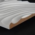 3D Wand 081 aus gefrästem MDF Holz, weiß grundiert