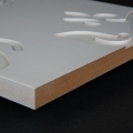 3D Wand 082 aus gefrästem MDF Holz, weiß grundiert