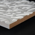 3D Wand 084 aus gefrästem MDF Holz, weiß grundiert