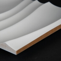 3D Wand 087 aus gefrästem MDF Holz, weiß grundiert