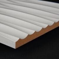 3D Wand 091 aus gefrästem MDF Holz, weiß grundiert
