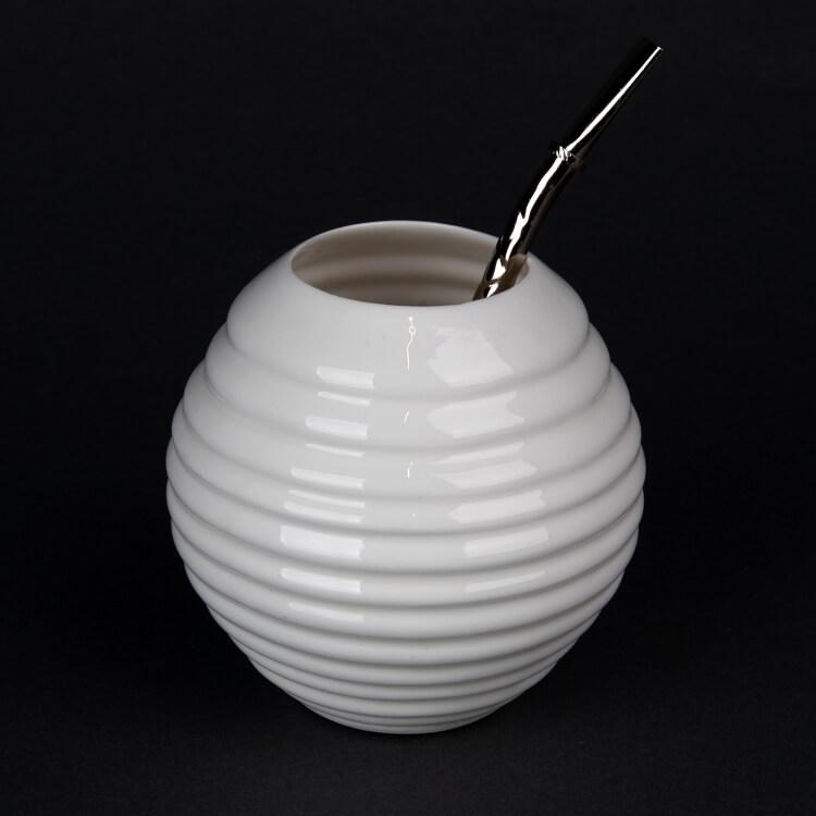 Kina Ceramics Yerba Mate Tee Becher weiß aus Porzellan mit Bombilla Strohhalm