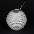 Kina Ceramics Yerba Mate Tee Becher Spiky auf edlem Porzellan und echtem Platin mit Bombilla Strohhalm
