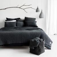 moyha Soft weave Großstrick Decke dunkelgrau