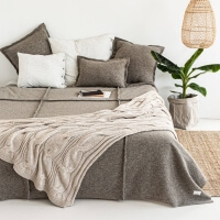 moyha Wave Jersey Tagesdecke taupe beige