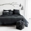 moyha Woolen Weave Strick Bettüberwurf dunkelgrau