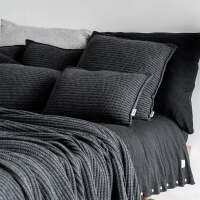 moyha Woolen Weave Strick Überwurf dunkelgrau
