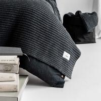 moyha Woolen Weave Strick Wohndecke dunkelgrau