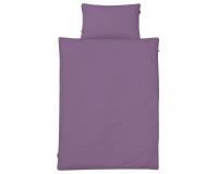 Schöne Kinderbettwäsche in uni lila aus zertifizierter Baumwolle