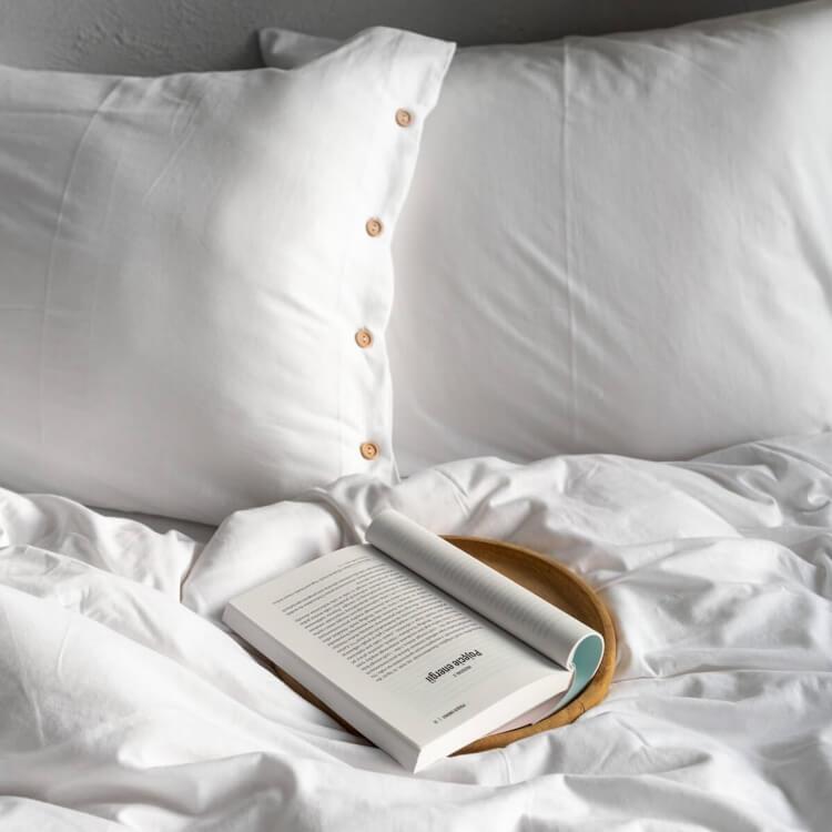 moyha Jersey Bettwäsche Pure Reinweiß mit Holzknöpfe