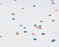 Baumwoll-Bettwäsche bunte Punkte und Rückseite in uni dunkelblau