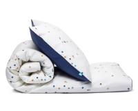 Schöne Bettwäsche Punkte blau Konfetti aus zertifizierter Baumwolle