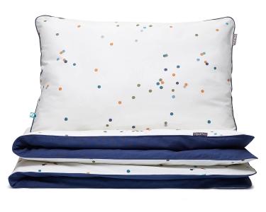 Bettwäsche Punkte dunkelblau aus hochwertiger Baumwolle