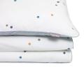 Gepunktete Baumwoll-Kinderbettwäsche Konfetti grau