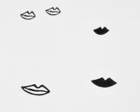 Baumwoll-Kinderbettwäsche schwarze Lippen auf klassischem weiß