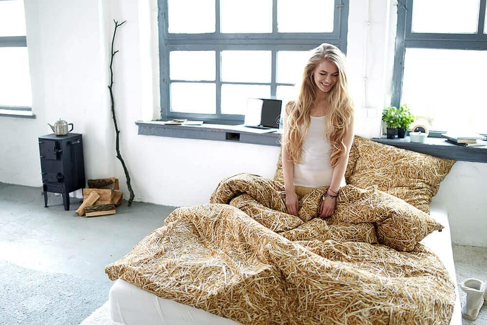 Hochwertige Bettwäsche in Strohoptik - perfekt im Schlafzimmer